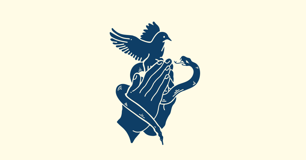 Hand-drawn logo design showing praying hands around a snake and dove