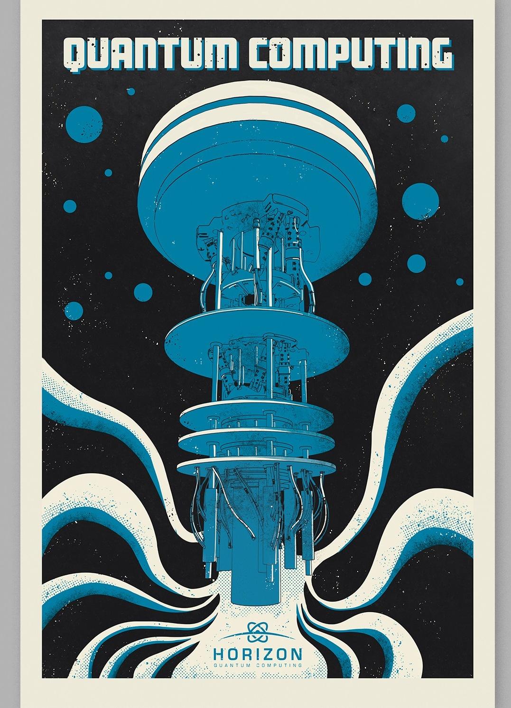 Blue retro futuristic poster design for computing brand