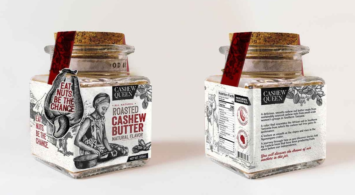 Illustrated label design for cashew butter