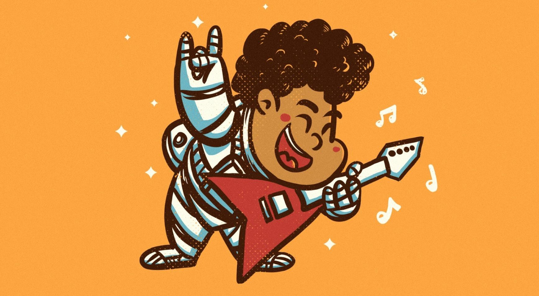 Cartoon astronaut illustration for kid's shirt