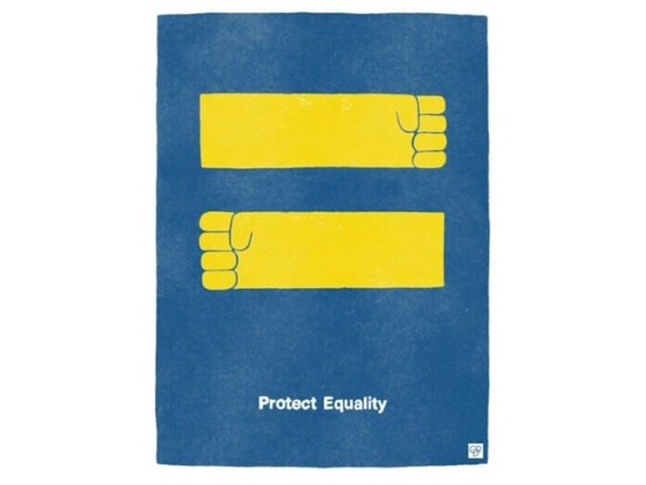 Protect Equality poster reimagining the HRC logo