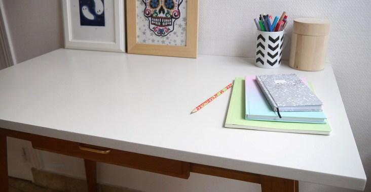 zoom sur le plateau du bureau