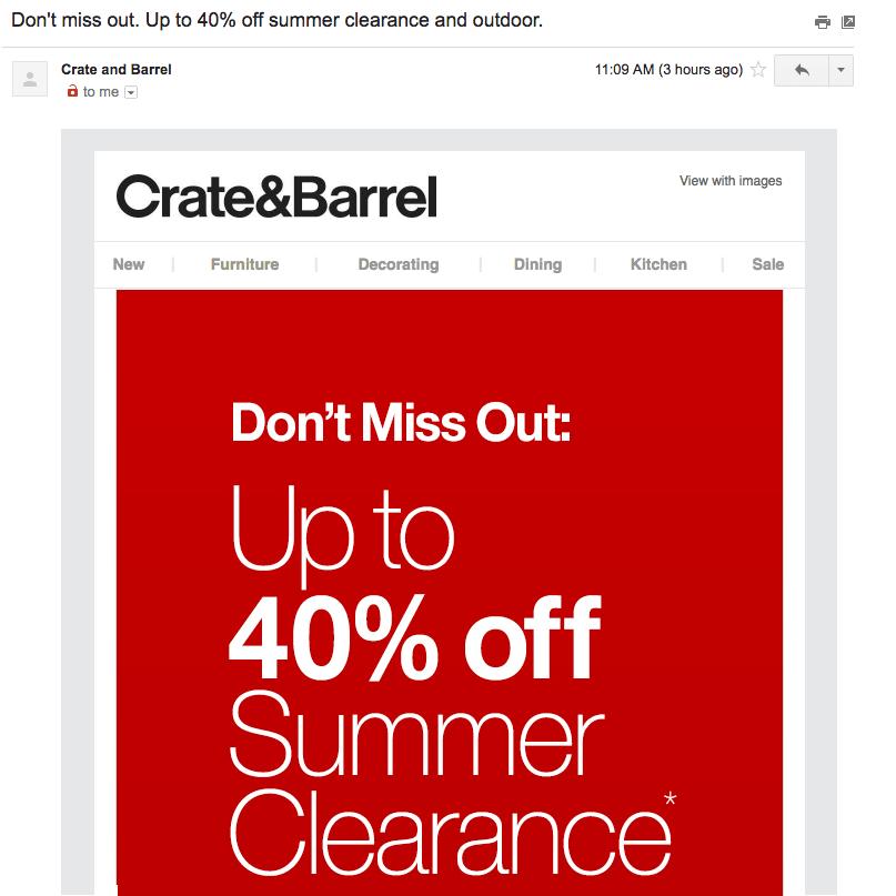 Summer Crate and Barrel Discount