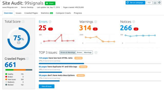Suggerimenti SEO on-page per potenziare al massimo il traffico - Controllo sito SEMrush