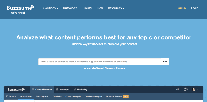 Strumento di marketing dei contenuti Buzzsumo
