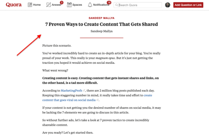 Quora Blog Post
