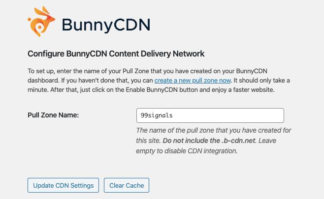 BunnyCDN Impostazioni di WordPress