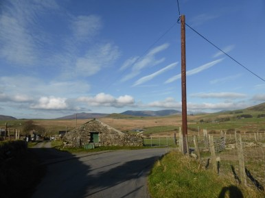 view across lane to hills
