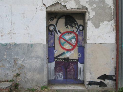 blocked doorway scribblings