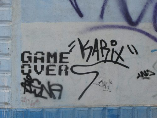 Game Over - stencilled on wall