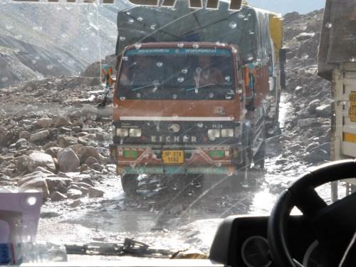 truck crossing landslide