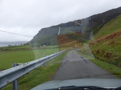 cliff road through windscreen - stopped raining!