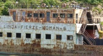 rusted derelict ferry