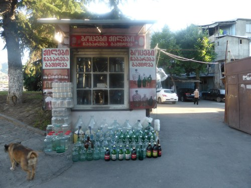 bottle factory gate kiosk with drinks bottles displayed