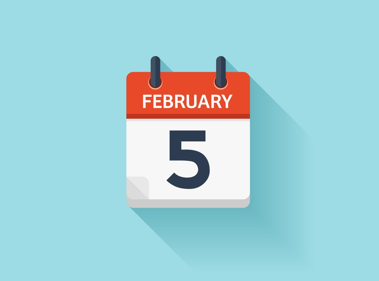 A calendar page set to February 5th on a blue background
