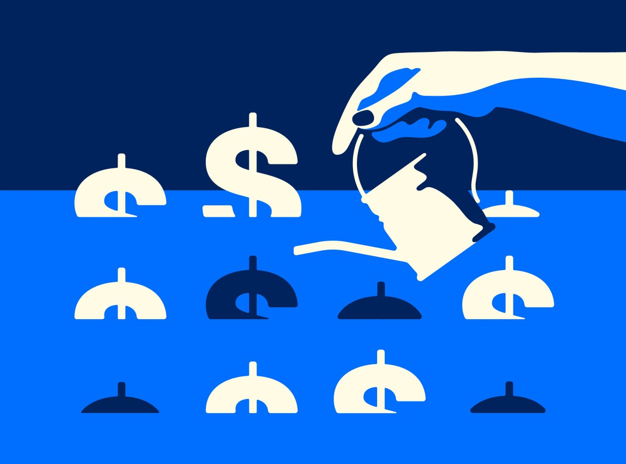 Dollar signs on blue background with hand holding watering can