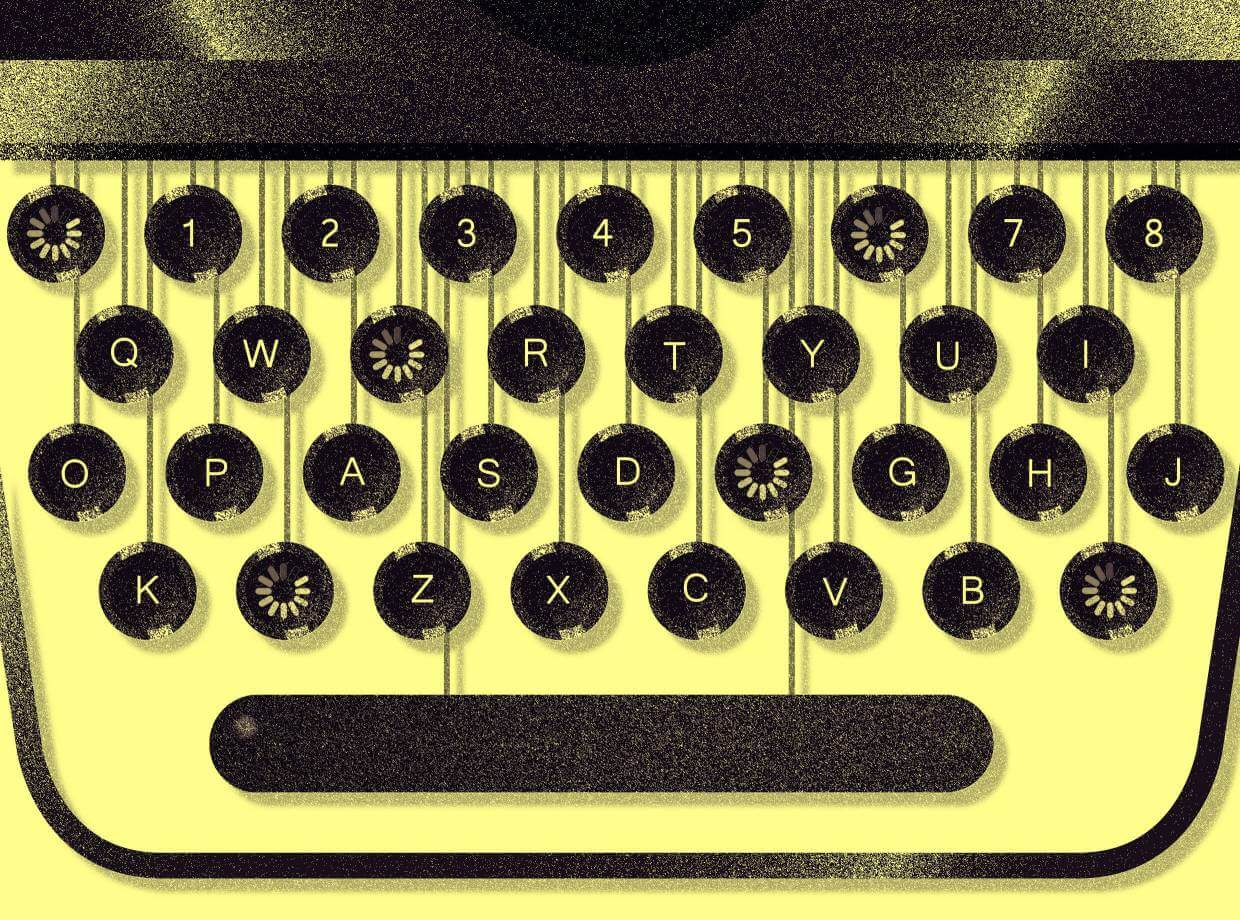 Yellow and black typewriter keyboard.