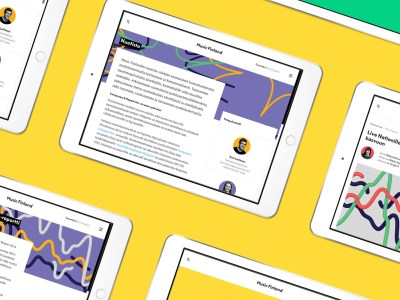 Tablets displaying web pages on yellow background