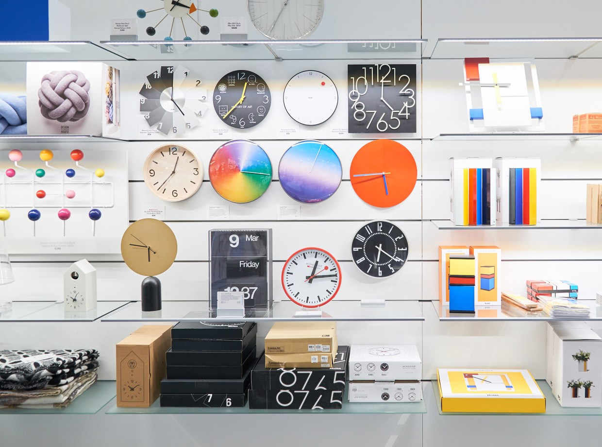 A selection of MoMA Design Store's extensive offering of clocks at the Midtown location, photo by Nicholas Prakas