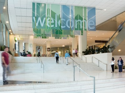 Wayfinding welcome signage greets visitors at the Washington State Convention Center.