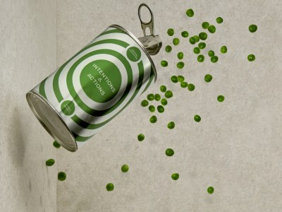 A can of peas spills sideways.