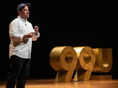 Zach Lieberman speaking on the 99U Conference main stage
