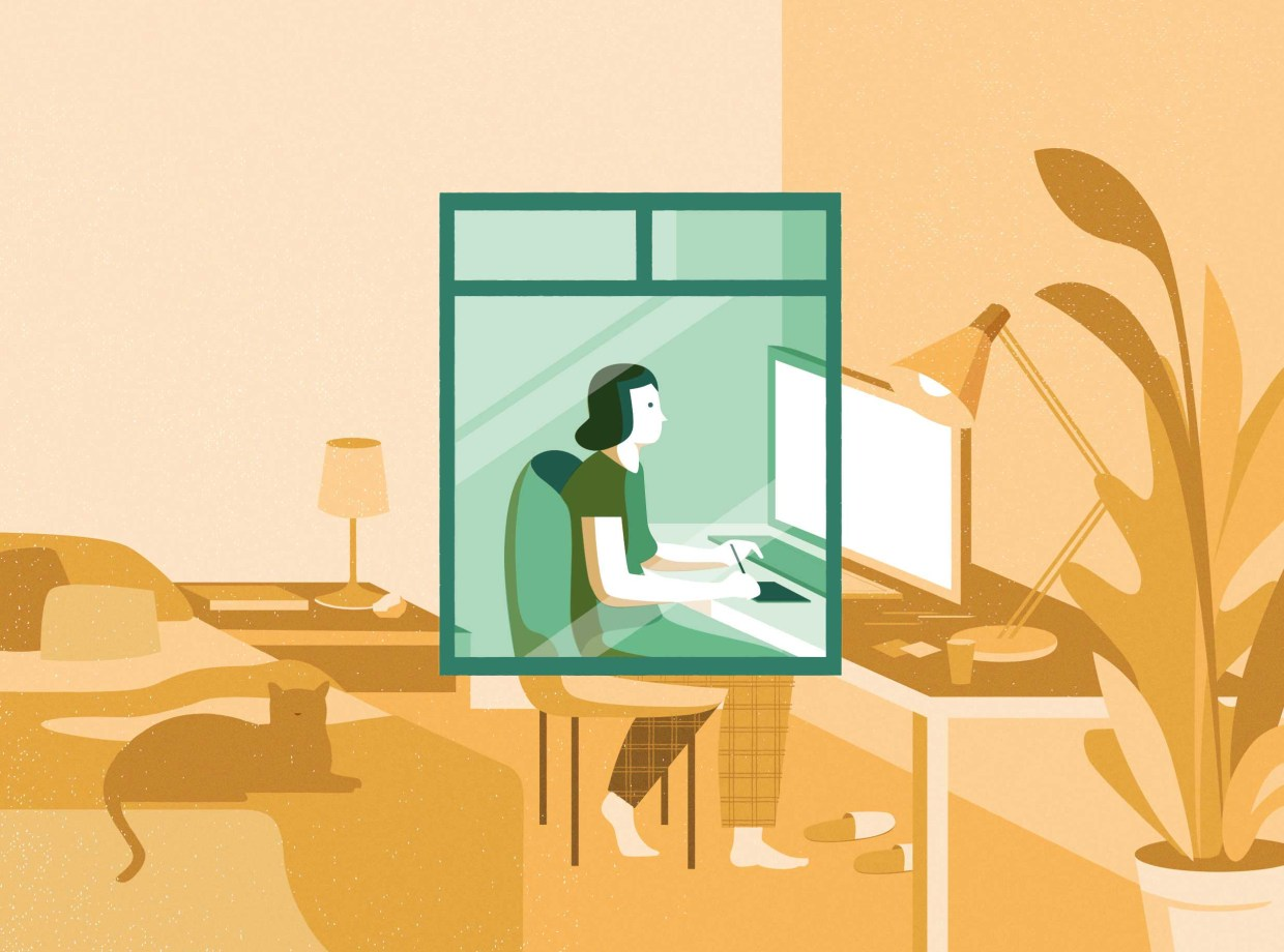 A woman sits in a home office, illustrating in front of a computer with a cat sitting on a bed, as viewed through a green window