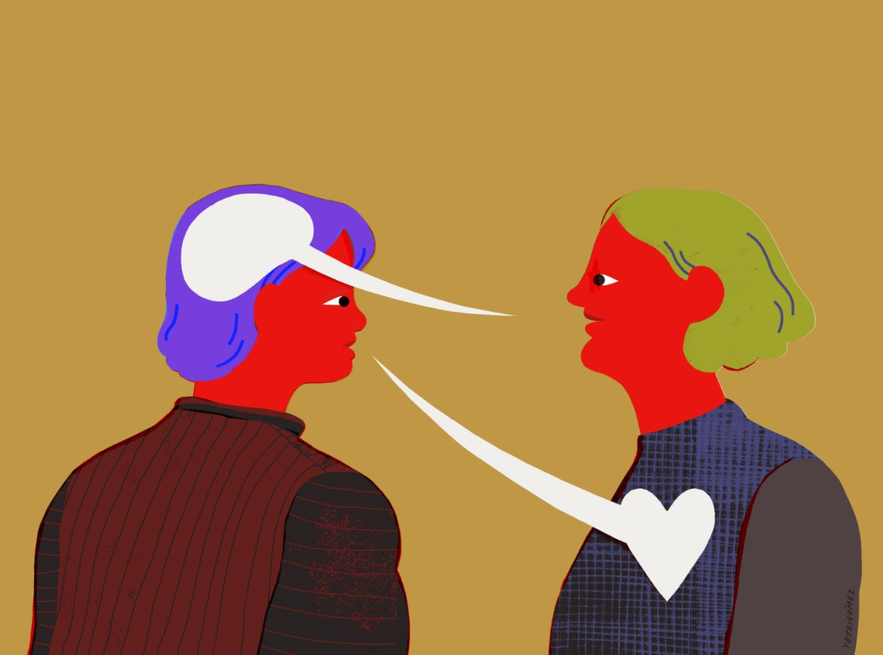 Two figures with speech bubbles sumbolizing gratitude and communication