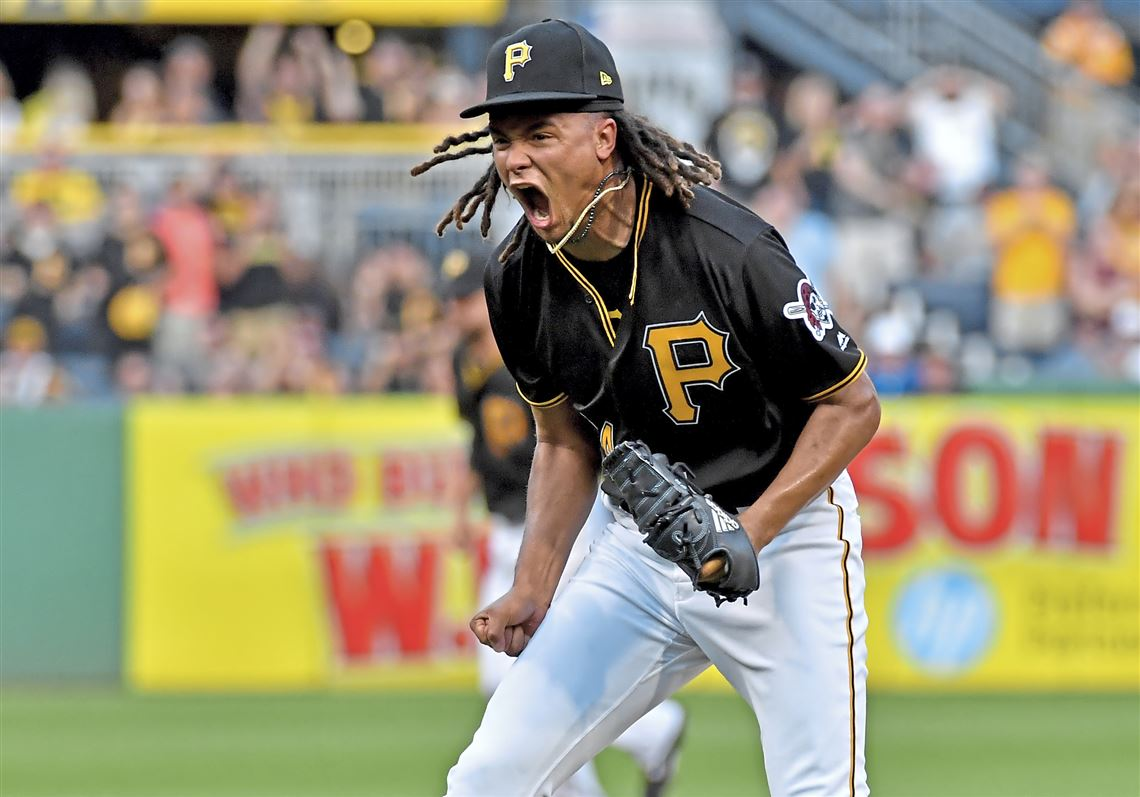 Pirates Pitcher Chris Archer Reacts After Getting Cardinals Shortstop Paul Dejong To Strike Out With The