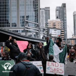 Nigerian Singer, Dice Ailes leads #EndSars protest in Canada