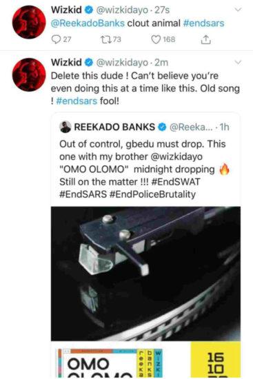 Wizkid blasts Reekado banks