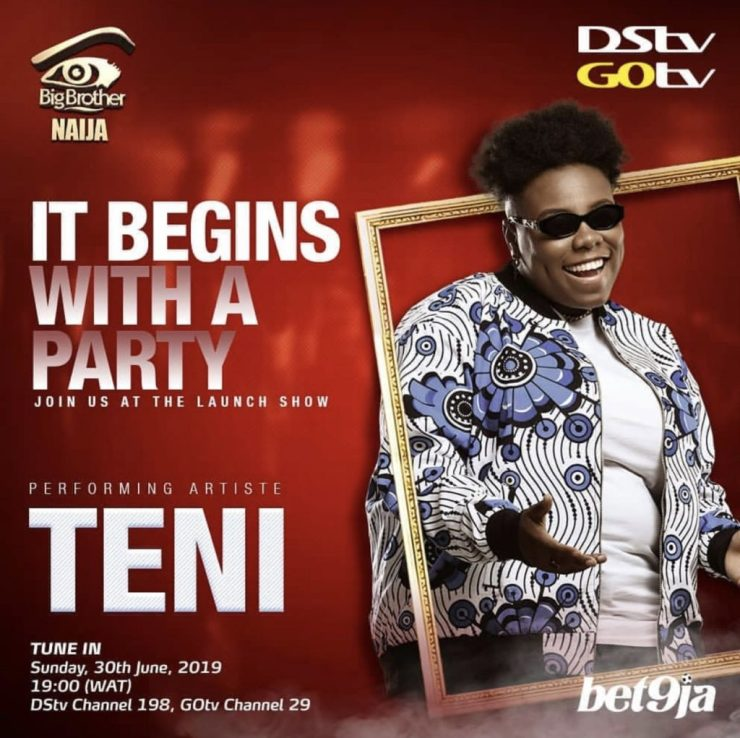 BURNA BOY, TENI, ZLATAN SET TO THRILL NIGERIANS AT BBNAIJA 2019 PREMIERE BURNA BOY, TENI, ZLATAN SET TO THRILL NIGERIANS AT BBNAIJA 2019 PREMIERE TENI 1024x1021