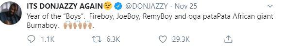Don Jazzy Celebrates Burna Boy, Fireboy And Joeboy For Having A Great 2019 6