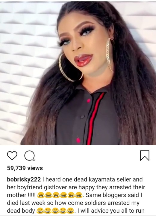 Bobrisky Denies Being Arrested By Soldiers, Says His Cars Were Not Seized