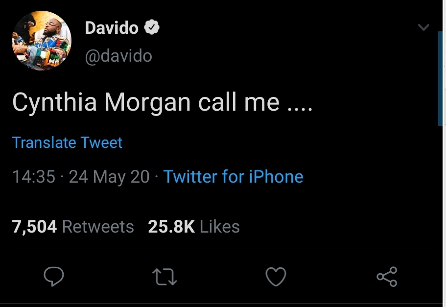 Davido Reaches Out To Cynthia Morgan, Offers To Help 3