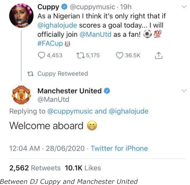 Man Utd Officially Welcomes DJ Cuppy As Fan 1