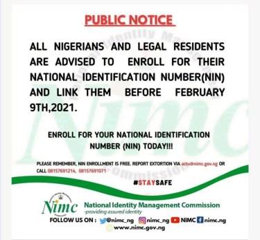 NIMC: FG Extends NIN-SIM Linking Till February 9 2021