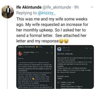Nigerian Man Shares Mail From His Wife Requesting A Raise In Monthly Upkeep And His Response To Her