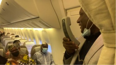 Airpeace: Onyema On Board As Flight Attendant In Training (Video, Photo)