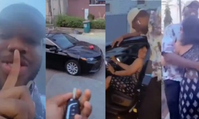 man surprises his girlfriend with a car