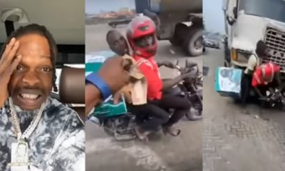 Dispatch rider collecting money from Naira Marley