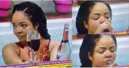 #BBNaija: Life continues! Nengi spotted sipping wine and swimming excitedly shortly after crying over Ozo's eviction (Video)