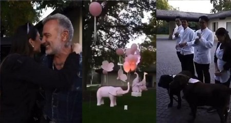 See how Italian millionaire, Gianluca Vacchi welcomed girlfriend who gave birth (Video)