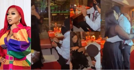 Toyin Lawani's photographer, Segun Wealth engages her on Valentine's Day (Video)
