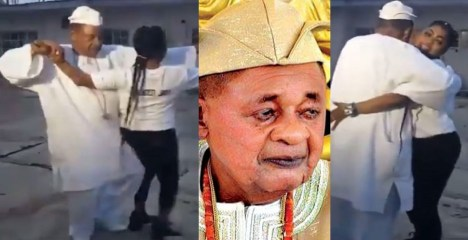 'This King Will Love Doggy' – Nigerians React As Alaafin of Oyo Rocks Lady while Dancing [VIDEO]