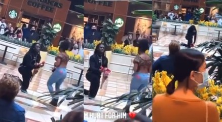 Man in tears as his girlfriend rejects his proposal in a shopping mall (Video)