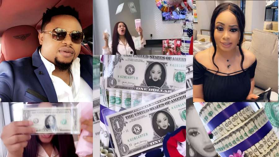 Nina ivy husband Ifeanyi Anthony Anoliefo lavishes her with customized dollar notes on her 25th birthday (video)