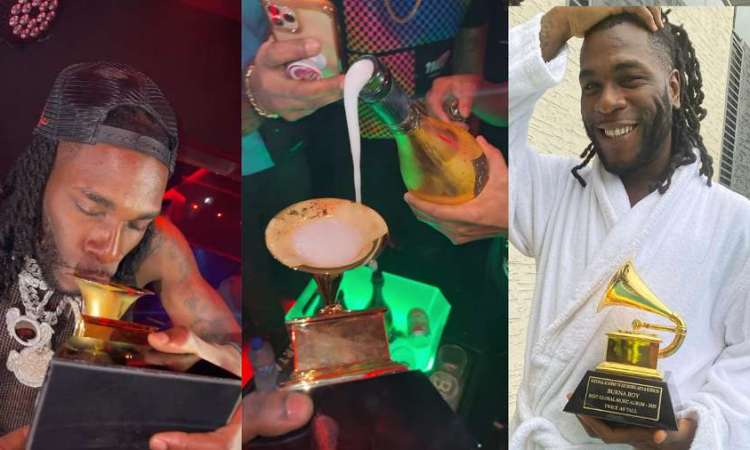 Burna Boy caught on camera using his Grammy plaque as wine cup (video)
