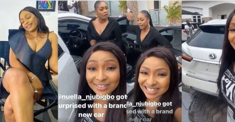 Nuella Njubigbo gets surprised with brand new car few days after allegedly dumping her actor husband, Tchidi Chikere (Video)