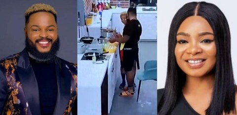 #BBNaija: Watch The Beautiful Moment #BBNaija2021 Housemate WhiteMoney shares first ever kiss in the house with Queen (Video)